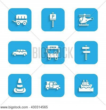 Set Bus, Minibus, Cruise Ship, Road Traffic Signpost, Traffic Cone, Hatchback Car, Helicopter And Wi