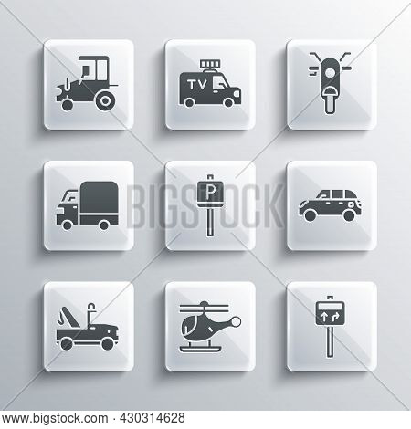 Set Helicopter, Road Traffic Signpost, Hatchback Car, Parking, Tow Truck, Delivery Cargo, Tractor An