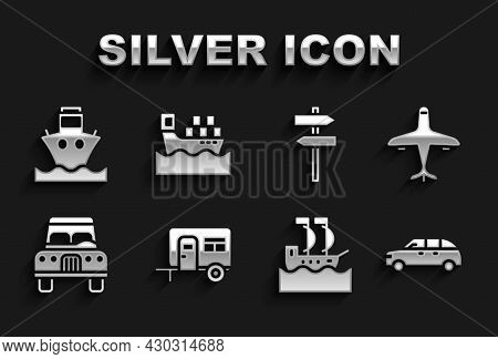 Set Rv Camping Trailer, Plane, Hatchback Car, Sailboat, Car, Road Traffic Signpost, Cargo Ship And W