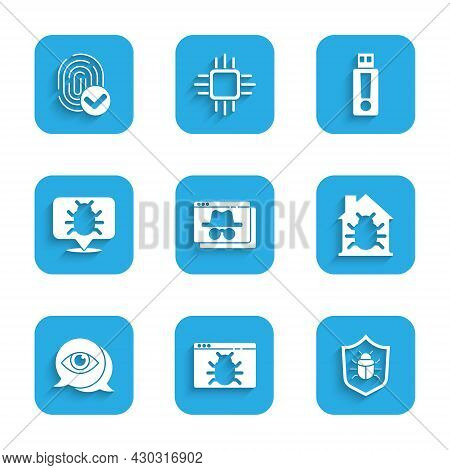 Set Browser Incognito Window, System Bug, House System, Eye Scan, Usb Flash Drive And Fingerprint Ic