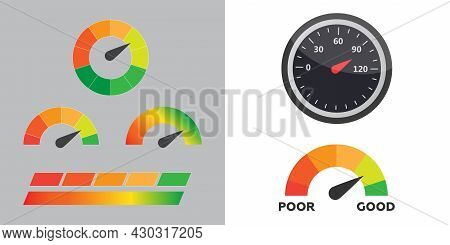 Low, Moderate And High Gauges Vector Eps 10