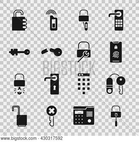 Set Lock Picks For Lock Picking, House With Key, Mobile Fingerprint Scan, Broken, Old, Safe Combinat