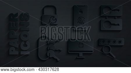 Set Lock On Computer Monitor, Casting Keys, Bunch Of, Password Protection, Mobile With Fingerprint S