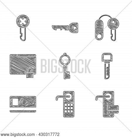 Set Old Key, Digital Door Lock, Key, Card, Folder And, House With And Wrong Icon. Vector