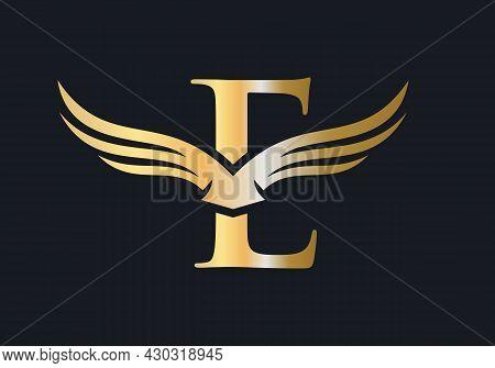 E Letter Wing Logo Design. Initial Flying Wing E Letter Logo. Letter E Logo And Wings Concept