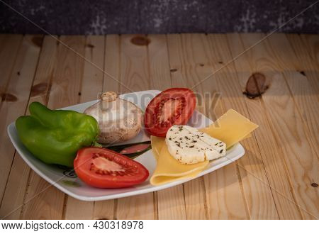 Vegan Plate With Healthy Vegetables And Cheese. Healthy Vegetarian Lifestyle