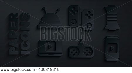 Set Gamepad, Sewing Thread On Spool, Online Play Video, And Needle Bed And Needles Icon. Vector