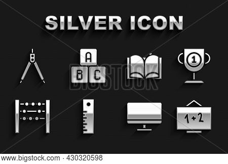 Set Ruler, Award Cup, Chalkboard, Computer Monitor Screen, Abacus, Open Book, Drawing Compass And Ab