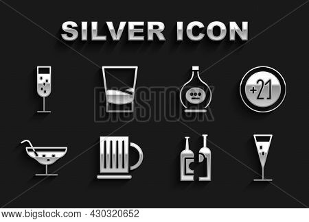 Set Wooden Beer Mug, Alcohol 21 Plus, Glass Of Champagne, Bottles Wine, Cocktail, Cognac Or Brandy,