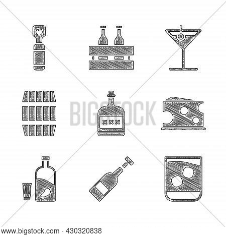 Set Alcohol Drink Rum Bottle, Opened Of Wine, Glass Whiskey, Cheese, Vodka With Pepper And Glass, Wo