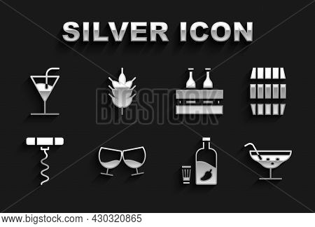 Set Glass Of Cognac Or Brandy, Wooden Barrel, Cocktail, Vodka With Pepper Glass, Wine Corkscrew, Pac