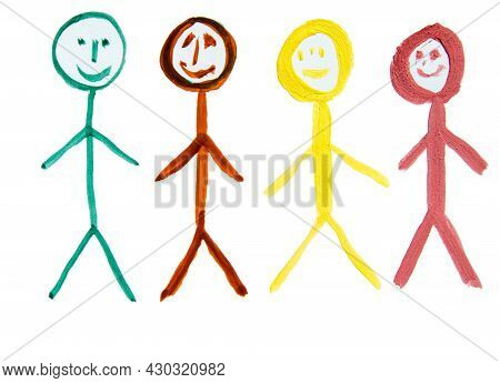 Four Multicolored People, As A Symbol Of The Diversity Of Nationalities, A Watercolor Drawing Drawn