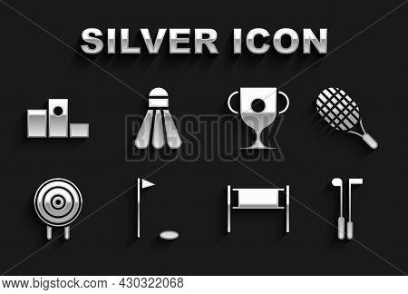 Set Golf Flag, Tennis Racket, Club, Volleyball Net, Target Sport, Award Cup, Over Sports Winner Podi