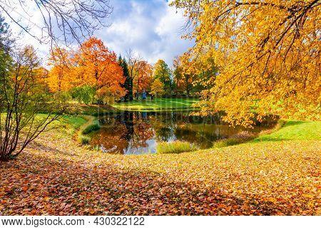 Pond In Catherine Park In Autumn, Tsarskoe Selo (pushkin), Saint Petersburg, Russia