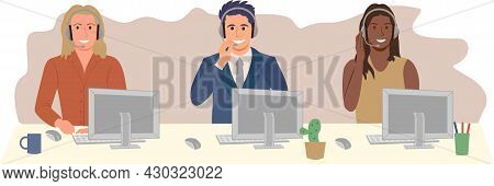 Call Center Agents. Call Center, Hotline Flat Vector Illustrations. Smiling Office Workers With Head