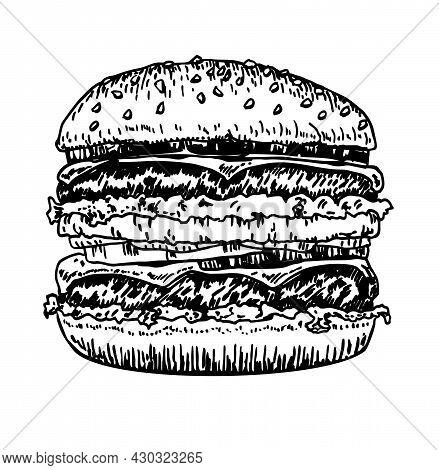 Big Burger, Hamburger Hand Drawing Vector Drawing Sketch Retro Style. Hand Drawn Hamburger Illustrat