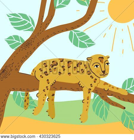 World Animal Day Banner Design. Cute Smiling Leopard Or Cheetah Lying On A Tree Branch, Enjoys The S
