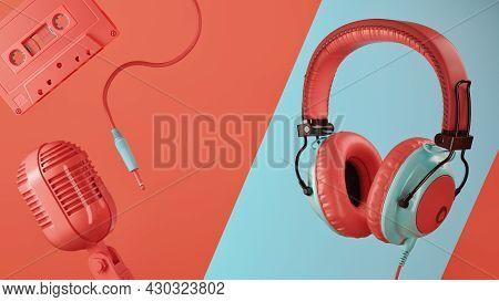 3d Rendering Headphones. 3d Render And Illustration