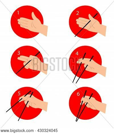 How To Use Chinese Or Japanese Chopsticks Instruction. Eating Asian Food With Special Tool Guide. In