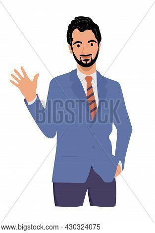 Heerful Businessman Waving Hello. Greeting Gesture. Guy, Man Waving Hand Saying Hi. Character Wave T
