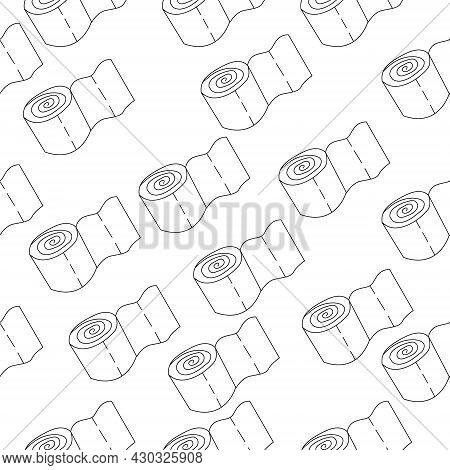 Seamless Pattern With Toilet Paper Rolls. Contour Pattern, Toilet Paper Roll Outline