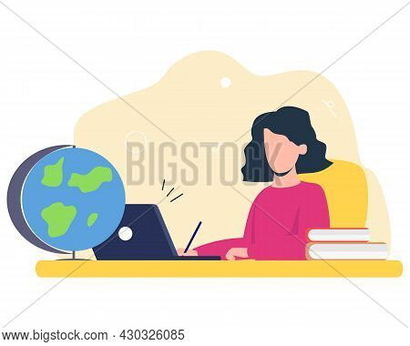 The Girl Does Her Homework, Online Training, A Tutor. Flat Vector Illustration