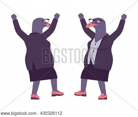 Bird Woman, Seagull Head Female Pigeon In Human Wear Happy. Plump Rounded Person With Short Legs, Cl