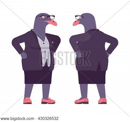 Bird Woman, Seagull Head Female Pigeon In Human Wear Standing. Plump Rounded Person With Short Legs,