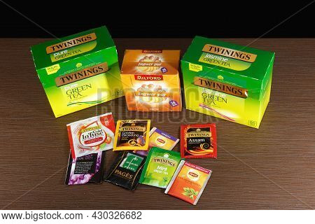 London, United Kingdom - April 04, 2021: Stack Of Famous British Tea Twinings And Other Different Br