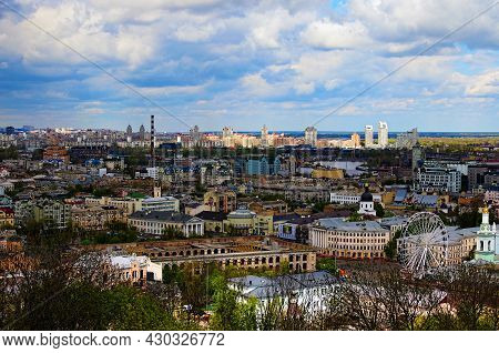 Kyiv, Ukraine-may 04, 2021:aerial Cityscape View Of Ancient Podil Neibhborhood With Colorful Buildin