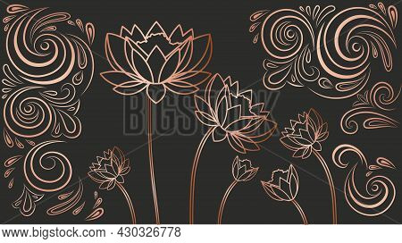 Luxury Wallpaper With Flowers. Bronze Abstract Image Painted On Dark Background. Linear Design For P