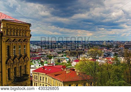 Picturesque Landscape View Of The Roofs In Ancient Podil Neibhborhood. Panorama View Of Downtown In