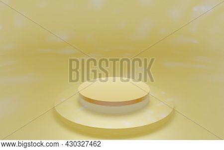 Round Yellow Stage Podium Concept Illustration Isolated On Yellow Background. Festive Podium Scene F