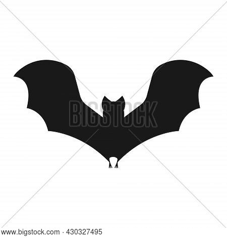 The Image Of The Silhouette Of A Bat. A Bat With Outstretched Wings. A Blood-sucking Flying Animal.