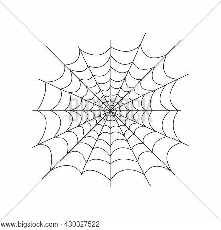 Image Of The Spider Web. The Net Is A Trap For Insects. Spider Web, A Symbol Of Halloween. Vector Il