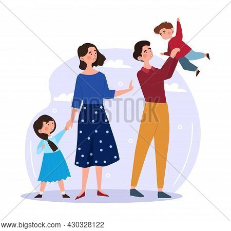 Big Happy Family. Man Holding His Son, While Girl Holding Her Daughter Hand. Family Walks In Fresh A