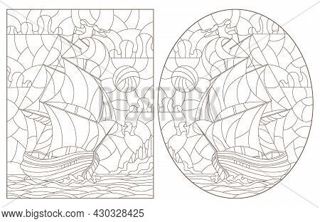 A Set Of Contour Illustrations Of Stained Glass Windows With Old Sailing Ships, Dark Contours On A W