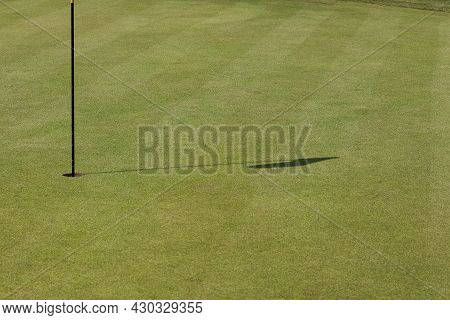Flag In A Golf Hole On The Background Of Green Grass And Golf Balls. Golfing, Golf Club.