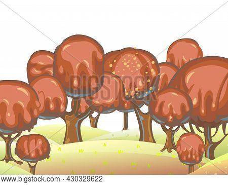 Chocolate Trees Landscape. Fairy Tale Garden. Summer Fantasy Scene. Perspiration. Cartoon Style. Chi