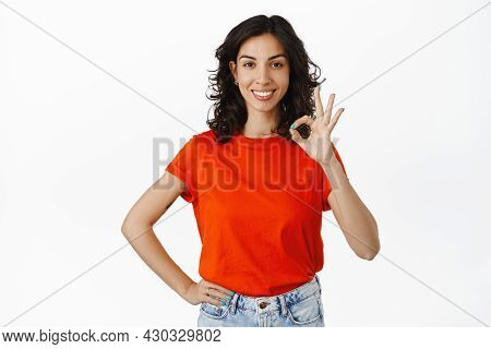 Fine, Okay. Smiling Satisfied Girl Client Shows Ok Gesture, Looking Pleased And Praise Something Exc