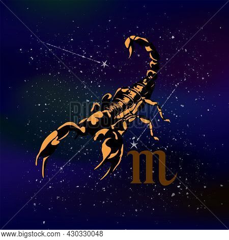 The Picture Shows The Zodiac Sign Scorpio Against The Background Of Endless Space.