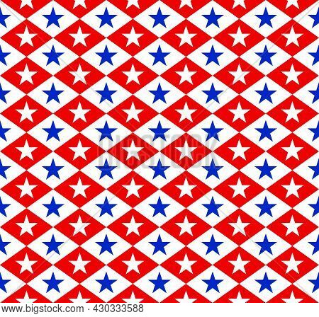 Five-pointed Star Pattern, White And Blue, Arranged In A Zigzag Pattern. Seamless Abstract Red Backg