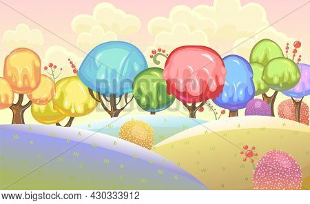 Candy Background. Cartoon Sweet Land. Beads Of Jelly, Ice Cream And Caramel. Chocolate. Cute Childre