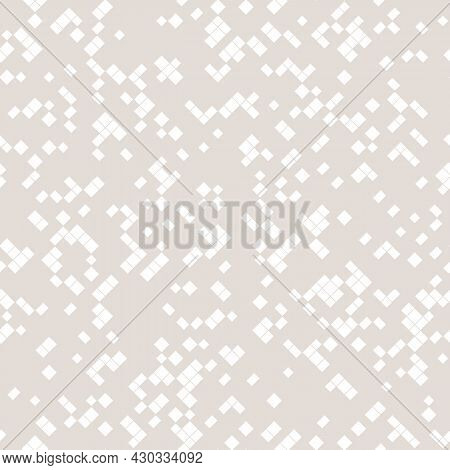 Subtle Vector Abstract Pixel Mosaic Background. Simple Monochrome Seamless Pattern With Small Square