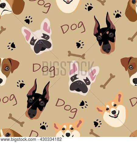 Seamless Pattern With Dogs Of The Breed: Beagle, Doberman, Corgi, French Bulldog, Jack Russell. Vect