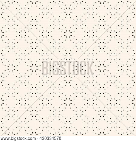 Minimalist Vector Seamless Pattern. Simple Delicate Geometric Texture. Abstract Black And White Mini