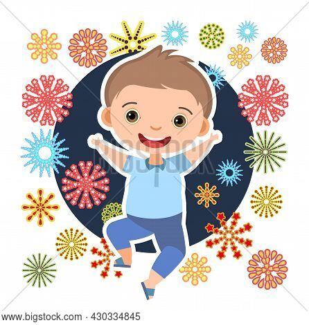 Child With Salute. Little Boy. In Fashionable Clothes. Fireworks At Birthday Party. Kid Is Jumping F