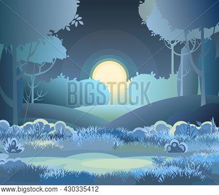 Night Beautiful Rural Landscape. Cartoon Style. Hills Grass And Dark Trees. Moon And Moonlight. Lush