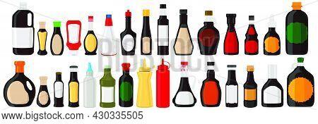 Illustration On Theme Big Kit Varied Glass Bottles Filled Liquid Sauce Unagi