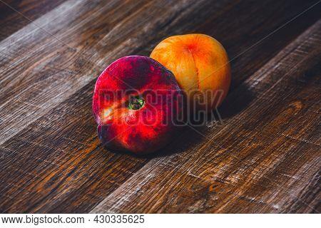 Peach Fruit With Leaf. Ripe Juicy Orange Peach Fruit Of Peach Tree On Wooden Cutting Rustic Board. P